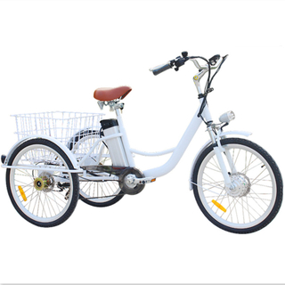 "7 Gear Speeds Electric Cargo Bike 24"" Aluminum Rims Adult Tricycle With A Big Basket Behind Drop Shipping Wholesale"
