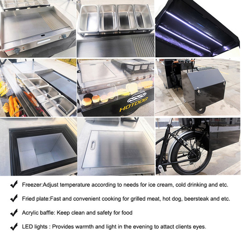Multifunction Mobile Electric Cargo Bike Adult Tricycl Snack Cart for Sell Hot Dogs Ice Cream Heating And Refrigeration Function
